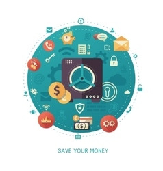 Save your money - modern flat design business vector
