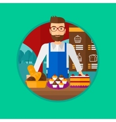 Worker standing behind the counter at the bakery vector image
