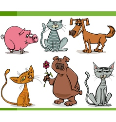 animals sketch cartoon set vector image