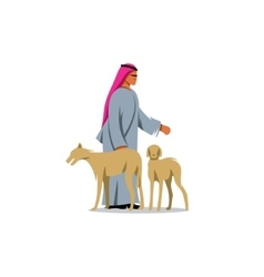 Arab man shekih in traditional dress and two vector