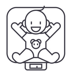 baby on scales line icon sign vector image vector image