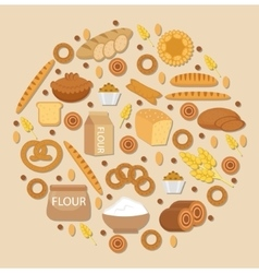 Bakery products icon set in a round shape flat vector