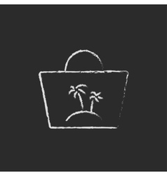 Beach bag icon drawn in chalk vector image