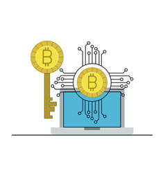 Bitcoin digital currency key network in laptop vector