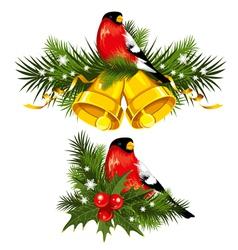 Bullfinch with christmas bells vector