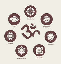 Chakra icon set elements and om calligraphy vector