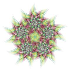 Colorful abstract circular fractal star design vector
