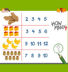 Counting activity with food objects vector