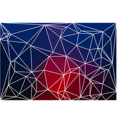 deep blue and red geometric background with mesh vector image vector image