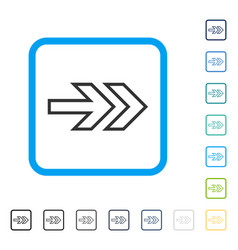 Direction right framed icon vector