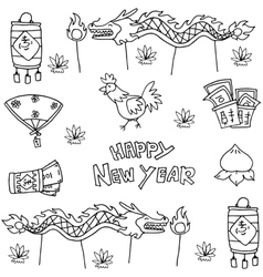 Doodle of Chinese New Year object vector image vector image