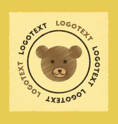 Flat shading style icon bear logo vector