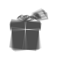 Gift sign with tag gray icon shaked at vector