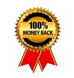 Gold label 100 money back vector