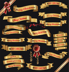golden ribbon banners merry christmas vector image