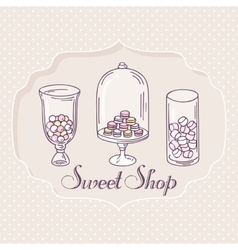 Hand drawn candy bar objects pastry shop label vector
