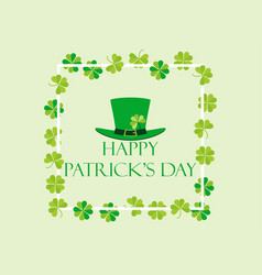 happy st patricks frame with leprechaun hat vector image vector image