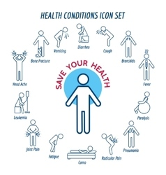 Health conditions icons vector image