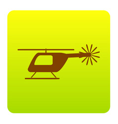 Helicopter sign brown icon vector
