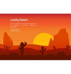 Horizontal banner with lonely desert vector