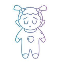 Line nice baby girl with pijama and hairstyle vector