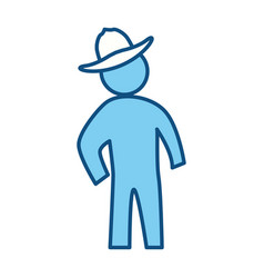 Man silhouette hat vector