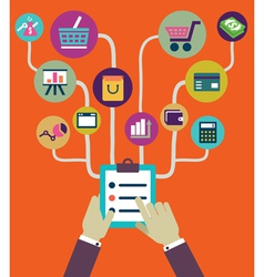 Management of business and payment flat style vector