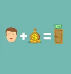 money helps to find a way out vector image vector image