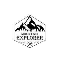 mountain icon with texture logo concept vector image