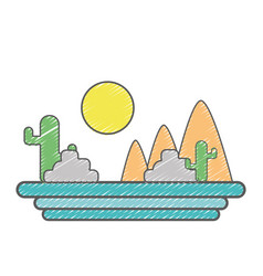 Mountains with cactus and plants with sun vector