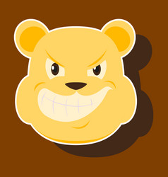 paper sticker on theme evil animal angry bear vector image