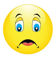 pensive yellow emoticon vector image