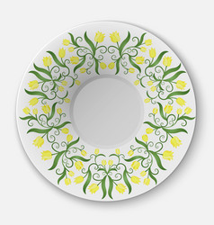 plate with floral pattern vector image