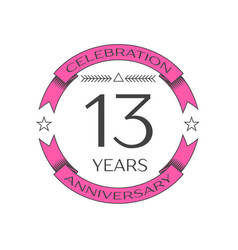 Realistic thirteen years anniversary celebration vector