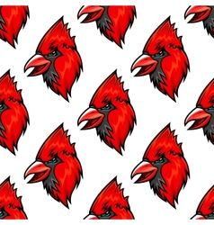 Red cardinal bird seamless pattern vector