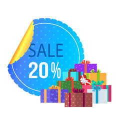 Sale 20 off round label special exclusive offer vector