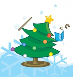 singing Christmas tree vector image