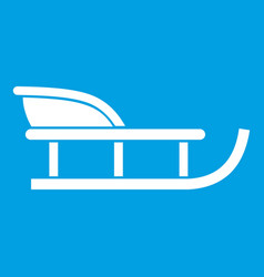 Sled icon white vector