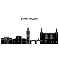 Spain toledo architecture city skyline vector