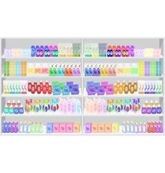 Store supermarket shelves shelfs with household vector