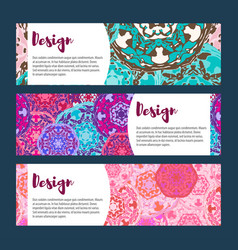 templates banners set floral mandala pattern and vector image
