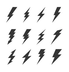 thunder and bolt lighting flash icons set vector image