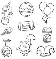 Various circus object of doodle collection vector
