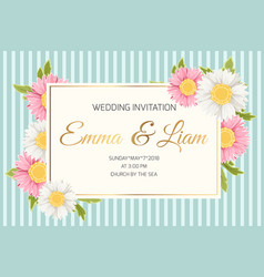 Wedding invitation daisy aster chamomile flowers vector