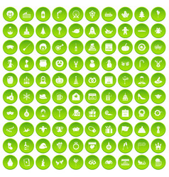 100 holidays icons set green circle vector