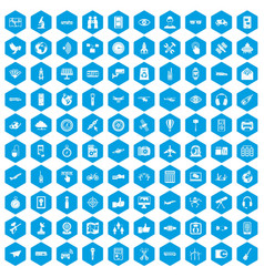 100 wireless technology icons set blue vector