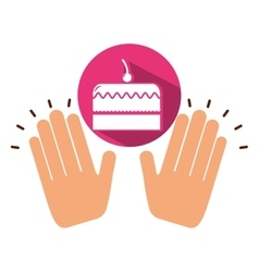 Two hands holding cherry cake vector