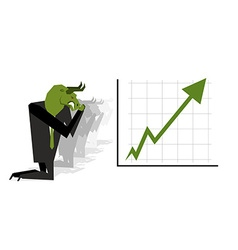 Green bull prays on rate increase on stock vector