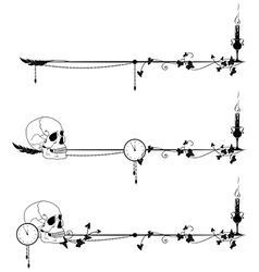skull candle clock and ivy vector image