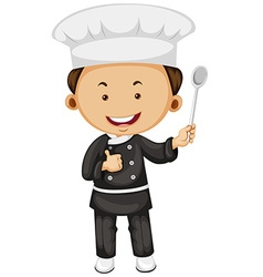 Male chef holding spoon vector image